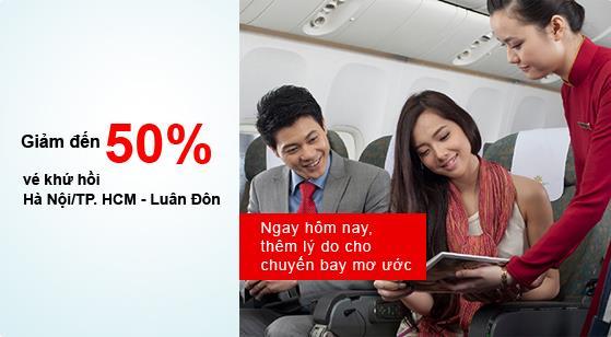 Vietnam Airlines giảm 50% vé khứ hồi đi London