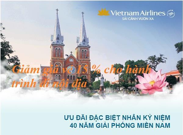 Vietnam Airlines ưu đãi vé bay nhân 40 năm giải phóng miền nam