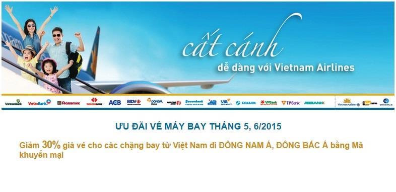 giảm 30% giá vé đi Đông Nam Á và Đông Bắc Á từ Vietnam Airlines