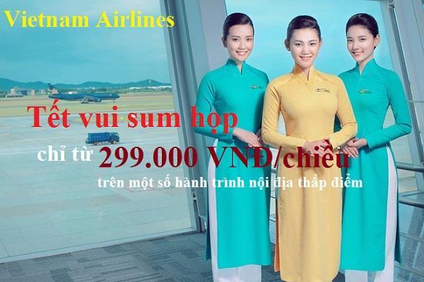 Khuyến mại Tết vui sum họp chỉ từ 299 000 đồng cùng Vietnam Airlines