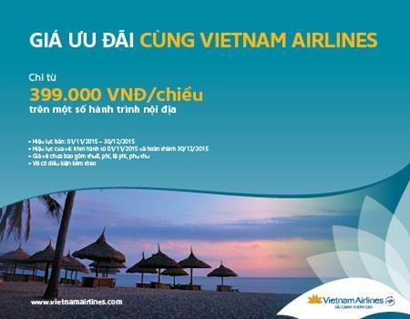 Vietnam Airlines ưu đãi vé giá rẻ chỉ từ 399 000 VND