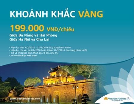 Vietnam Airlines ưu đãi vé rẻ đi nội địa chỉ từ 199 000đ