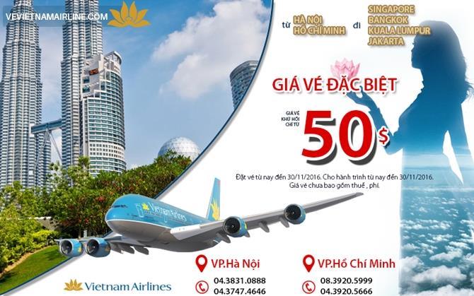 Vietnam Airlines tung vé giá 50 $ đi Đông Nam Á