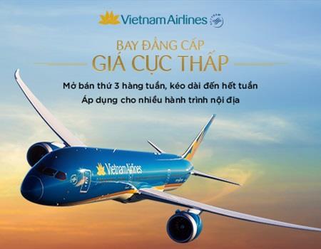 Vietnam Airlines: siêu khuyến mãi thứ 3 hàng tuần