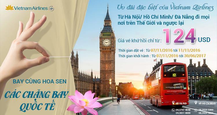 Bay Quốc tế cùng Vietnam Airlines với giá vé chỉ từ 124 USD
