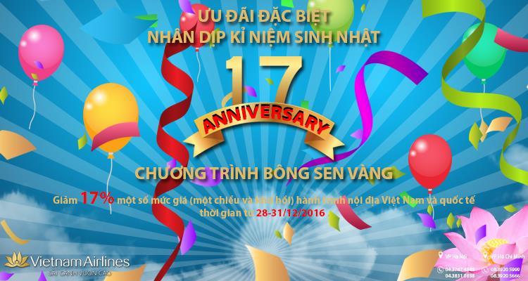 Ưu đãi sinh nhật: Chương trình bông sen vàng của Vietnam Airlines