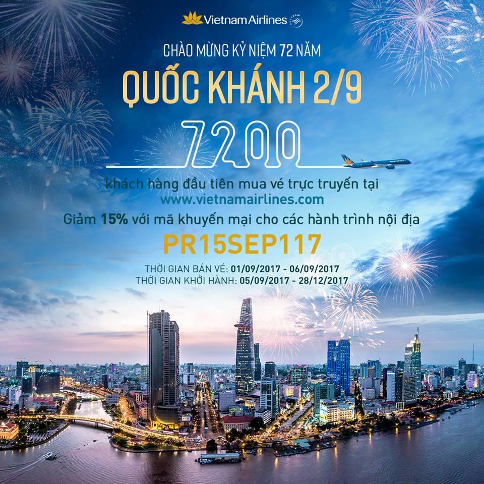 Ưu đãi lớn dịp 2/9, Vietnam Airlines tăng chuyến, KM giảm tới 15% giá vé toàn mạng nội địa