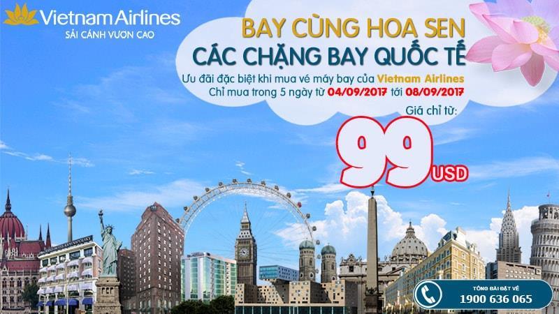 5 ngày vàng khuyến mãi, bay chẳng ngại giá với vé Vietnam Airlines chỉ từ 99 USD/ khứ hồi