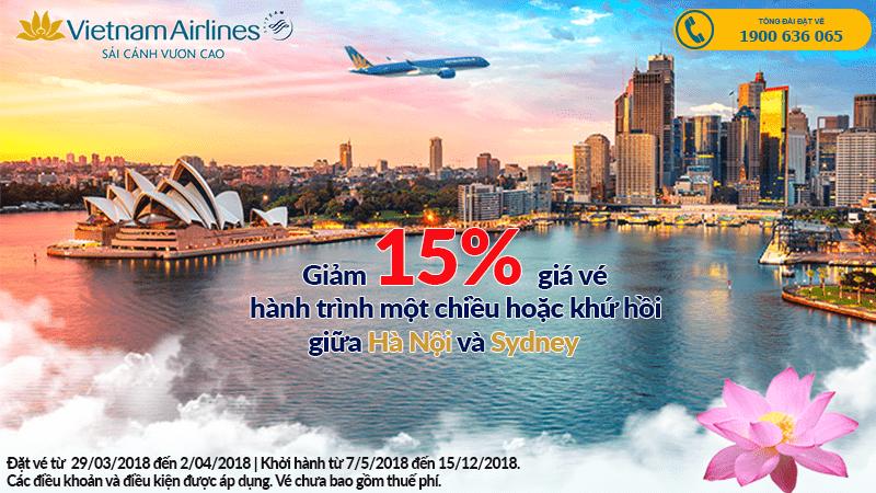 Siêu khuyến mại Vietnam Airlines giảm đến 15% bay đến Sydney