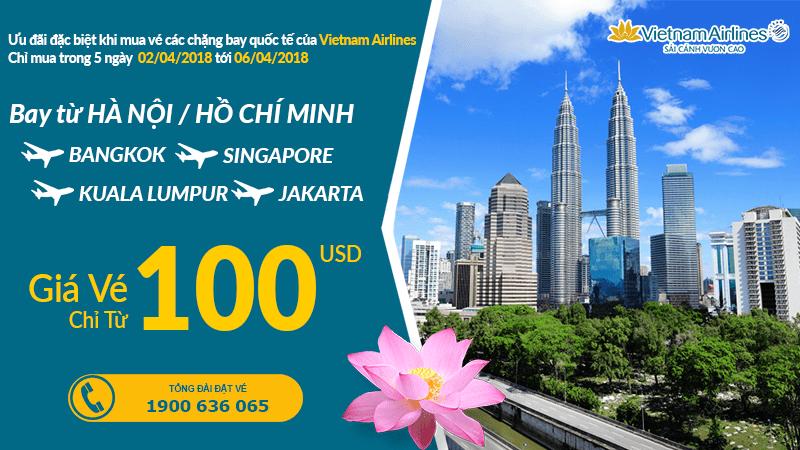 Vietnam Airlines khuyến mại đặc biệt cho hành trình bay quốc tế chỉ từ 100 USD vé khứ hồi