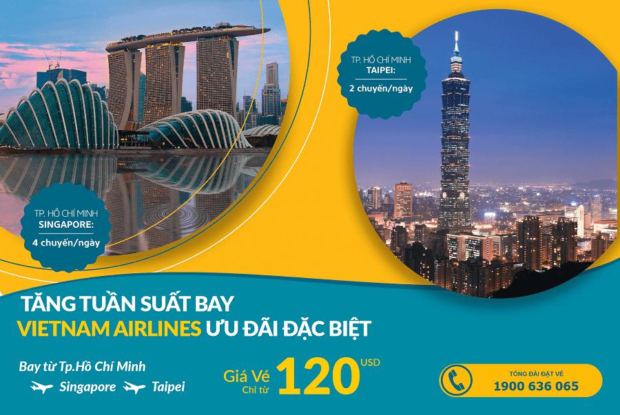 Vietnam Airlines tăng tần suất đường bay TP HCM đi Singapore và Đài Bắc