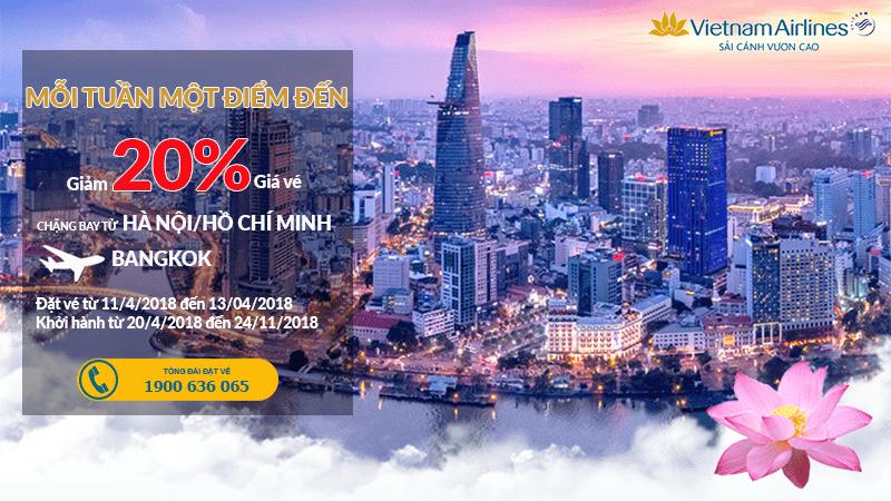 Siêu khuyến mại vé Vietnam Airlines đi Bangkok giá sốc giảm đến 20%
