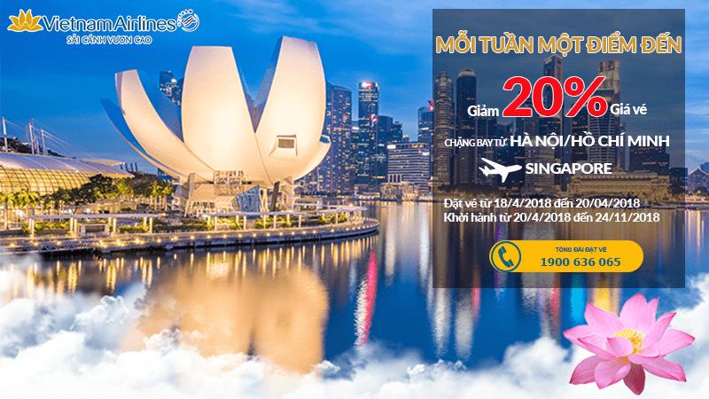 Đi Singapore không lo về giá với ưu đãi giảm 20% của Vietnam Airlines