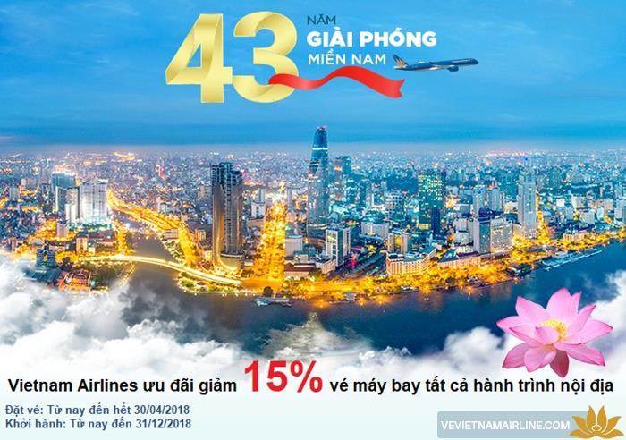 Vietnam Airlines tưng bừng giảm 15% bay nội địa mừng đại lễ 30/04