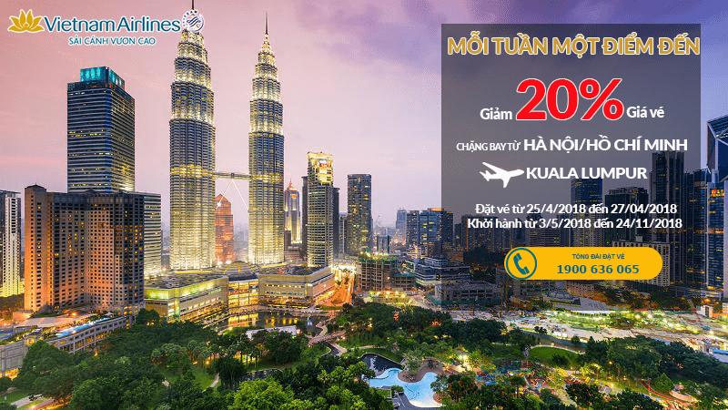 Giảm đến 20% vé Vietnam Airlines đi Malaysia thả ga mùa hè 2018