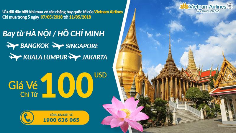 5 ngày vàng săn vé Vietnam Airlines khứ hồi bay quốc tế từ 100 USD đã thuế phí