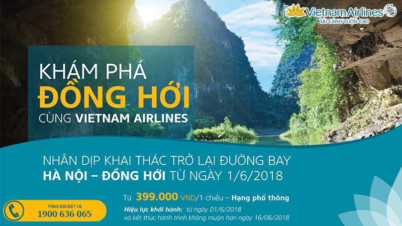 Vietnam Airlines khai thác lại đường bay Hà Nội - Đồng Hới giá vé  từ 399.000 VND/chiều
