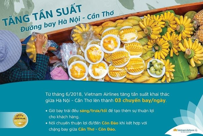 Từ tháng 6, Vietnam Airlines điều chỉnh tăng tần suất đường bay Hà Nội - Cần Thơ