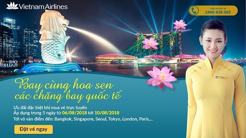 5 ngày vàng đặt vé khứ hồi Vietnam Airlines bay quốc tế từ 112 USD ưu đãi