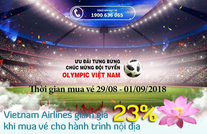 Vietnam Airlines giảm giá 23% giá vé mừng U23 Việt Nam vào bán kết Asiad 2018