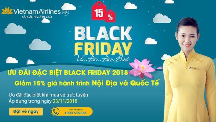 Giảm 15 % vé máy bay nội địa và quốc tế nhân ngày Black Friday 2018