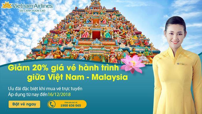 Hành trình từ Việt Nam – Malaysia giá vé máy bay giảm 20%