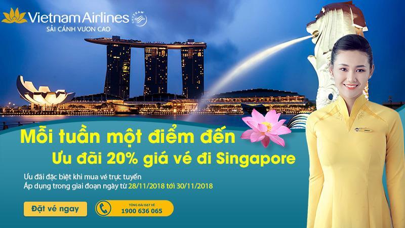 Vietnam Airlines giảm 20% giá vé máy bay thỏa sức trải nghiệm Singapore