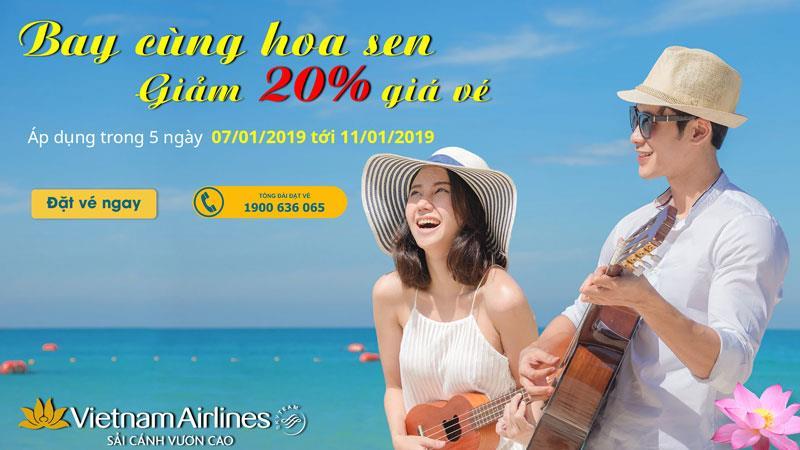 Cùng Vietnam Airlines khởi hành đầu năm với giá vé máy bay giảm 20%