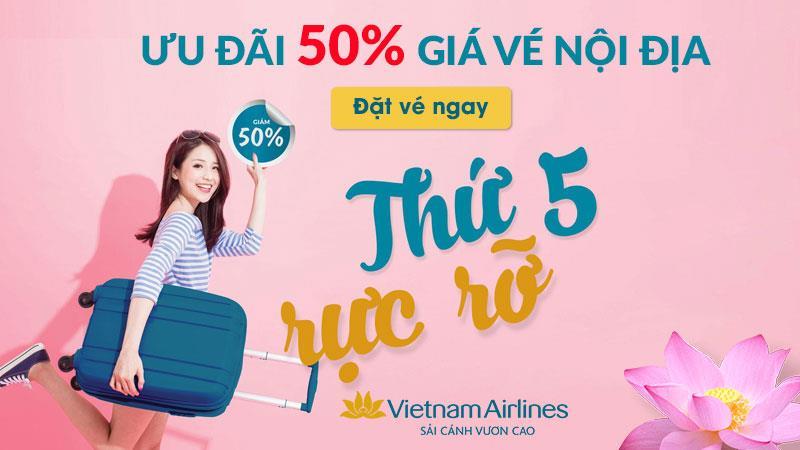Thứ 5 mua vé máy bay Vietnam Airlines giảm ngay 50%