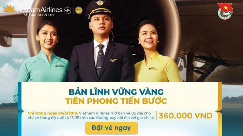 Vietnam Airlines khuyến mãi vé máy bay chỉ 360.000 nhân ngày 26/03