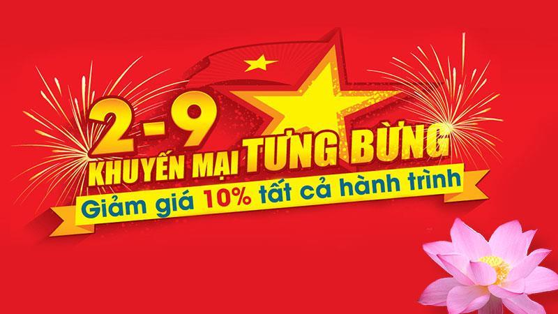 Vietnam Airlines khuyến mãi giảm10% giá vé nhân quốc khánh 2/9