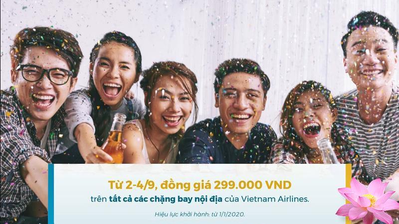 Khuyến mãi Vietnam Airlines mừng quốc khánh đồng giá 299.000 VND