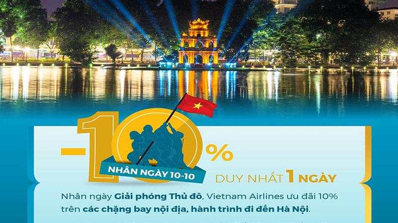 Vietnam Airlines khuyến mãi giảm 10% giá vé nhân giải phóng Thủ đô