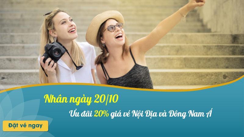 Vietnam Airlines khuyến mãi giảm 20% giá vé nhân ngày 20/10