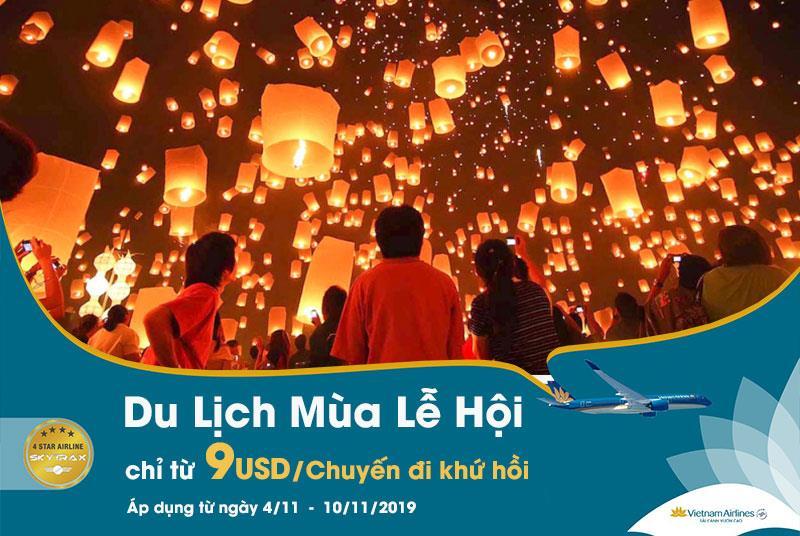 Vietnam Airlines khuyến mãi mùa lễ hội chỉ 9 USD/ khứ hồi