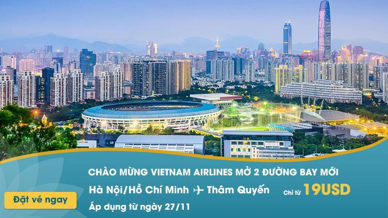 Vietnam Airlines khuyến mãi 2 đường bay mới đến Thâm Quyến chỉ 19 USD