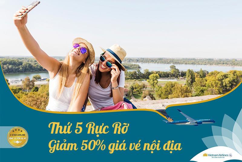 Vietnam Airlines khuyến mãi thứ 5 rực rỡ giảm 50% giá vé máy bay nội địa