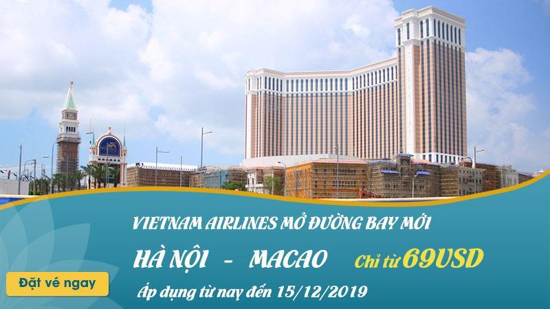 Khuyến mãi chỉ 69 USD cùng Vietnam Airlines bay thẳng đến Macao