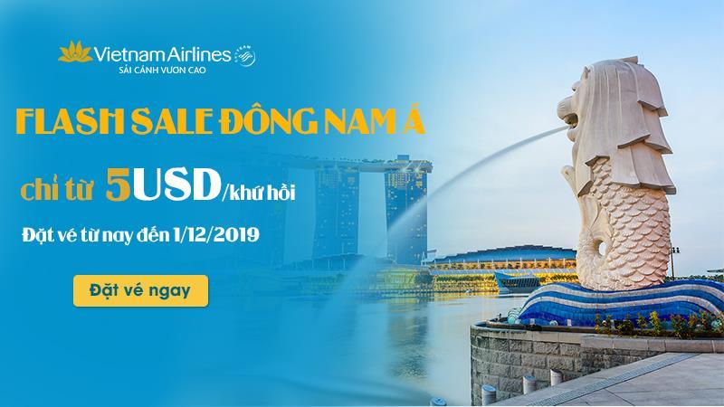 Vietnam Airlines khuyến mãi hành trình Đông Nam Á chỉ 5 USD/ khứ hồi