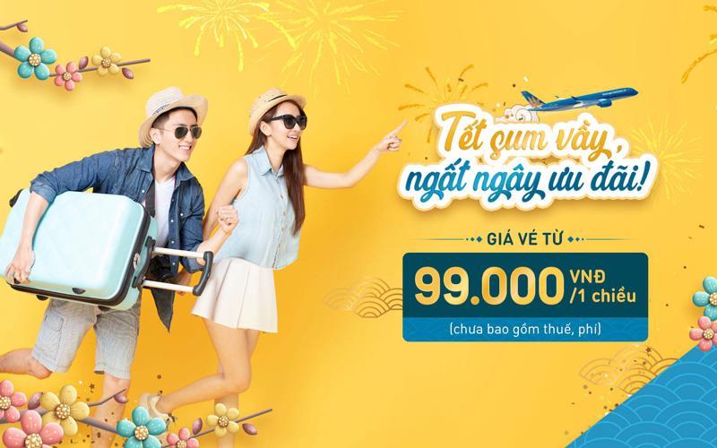 Khuyến mãi vé máy bay Tết 2021 Vietnam Airlines chỉ từ 99.000 VND