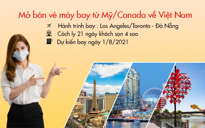Ngày 01/08 mở bán vé máy bay từ Mỹ/ Canada về Việt Nam