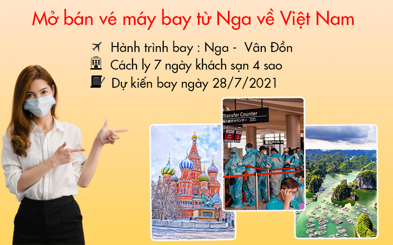 Vé máy bay chuyến bay Charter từ Nga về Vân Đồn